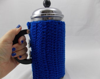 Cafétiere cozy royal blue insulating for Bodum coffeemaker frenchpress coffeeplunger with 2 daisy print button made of varnished wood