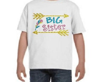 Arrows BIG Sister Monogrammed Youth T-Shirt