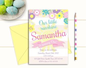 Any Age Printable Girls Sunshine Birthday Invitation, Daisy Birthday Invitation, 1st 2nd, 3rd You are my sunshine, Yellow Pink Invitation