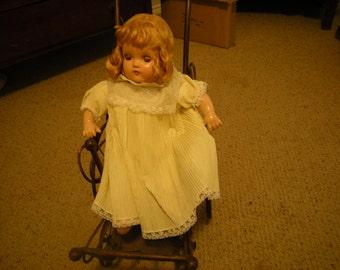 vintage Horsman doll-soft body  doll-blond hair-brown eyes-eyelashes-closing eyes-collection-