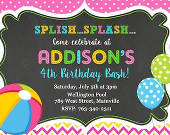 Girls Pool Party Invitation , Splish Splash, Pool Party, Birthday, Children's Pool Party Invitation - Digital or Printed