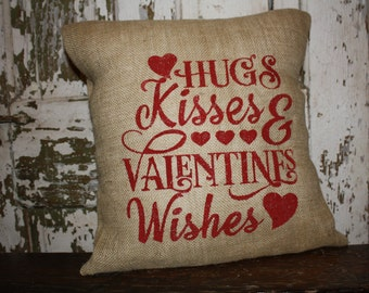 Valentine Pillow Cover, Valentine Throw Pillow, 16x16 Burlap or Canvas
