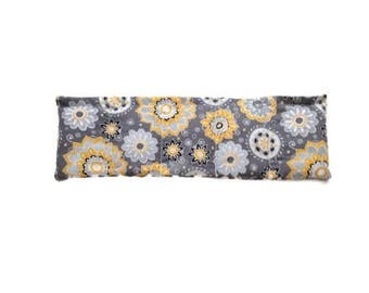 Microwaveable Flax Seed Heating Pad with Yellow and Gray Flowers and Gray and White Polka Dots