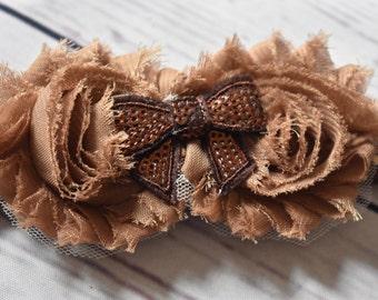 Tan Brown Shabby Rose Hair Bow Headband