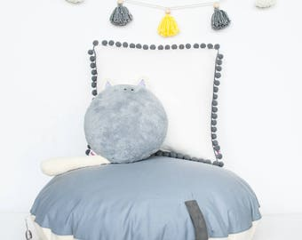 "Round stuffed  pouf ""Gray disk"" bean bag ottoman pouf floor pillow kids room nursery cushion"