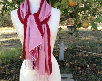 Cashmere and Silk Scarf w/ Scarlet Crochet