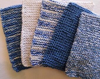 "handknitted dish cloth - set of 5 -  8 x 7.5"", potholders, knitted, dishcloth, wash cloth, face cloth, cotton, garter stitch"