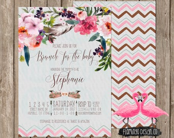 Boho Baby Shower Invitation - Floral Baby Shower, Chic Baby Shower