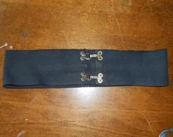 "Vintage 50's Wide Black Elastic Belt w/Metal Hooks - Fits 28"" - 34"""
