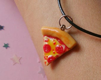 Pepperoni Pizza Slice Necklace, Pizza Pendant, Pizza Tattoo Choker, Pizza Necklace, Cheese Pizza, Polymer Clay Food, Miniature Food Jewelry