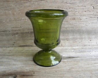 Vintage Dark Green Glass Planter or Compote on Pedestal Base