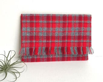 Plaid Flannel Envelop Clutch Evening Bag with fringes Red and Grey