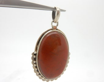 Vintage Sterling Silver/925 Oval Red Jasper Bezeled Dangle Pendant; 12.4gr ; sku #3060