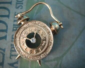 Vintage Alarm Clock Brooch Gold Tone Pin