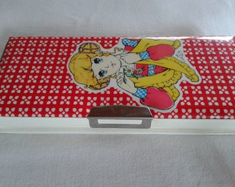 Showa era shoujo big eye girl girl pencil case box, vintage made in japan