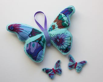 Handmade Felt Plush Butterfly and Babies - Blue & Purple