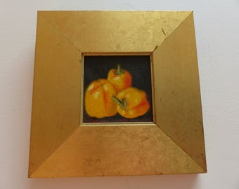 Framed Vintage Oil Painting Still Life 'Trio of Yellow Peppers' By Carmelo Sortino