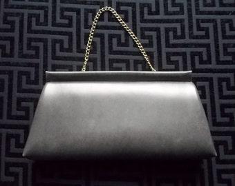 Vintage Handbag Grey Vinyl with Gold Tone Chain 1960s