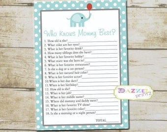 Lil Peanut Elephant Baby Shower Game, How Well Do You Know Mommy to Be, Blue Baby Shower Game, Elephant Game, INSTANT DOWNLOAD - 1006-A