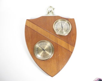 Mid Century Wood Barometer Thermometer Wall Plaque - Wood Plaque Airguide Barometer