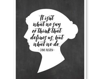 Jane Austen Quote Wall Art, Inspirational Quote, Jane Austen Silhouette Art, Pride And Prejudice, Literature Art, Literary Quote