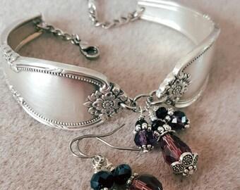 Vintage spoon bracelet and earring set Remembrance silverware pattern
