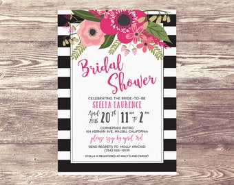 Printed Floral Bridal Shower Invitation, Elegant Rehearsal Dinner Invitation, Garden Engagement Party Invite, Wedding Brunch, Baby Shower