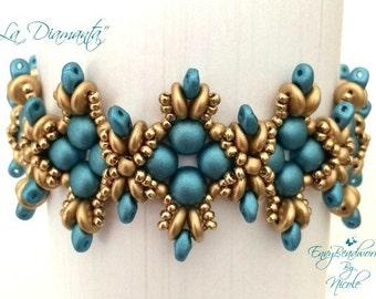 "Beading Kit:""La Diamanta"" Bracelet in English Beads Only ! D.I.Y."