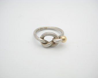 Tiffany & Co. 18K Yellow Gold and Sterling Silver Twist Love Knot Ring Size 5 1/2