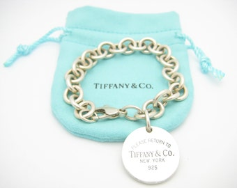 "Please Return to Tiffany & Co. Sterling Silver Round Tag Bracelet 7 1/2"" with Pouch"