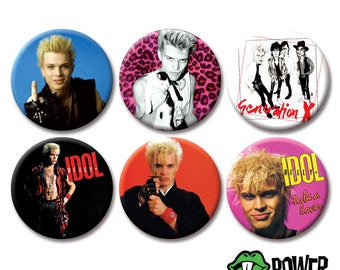 "BILLY IDOL BUTTONS (2.25"" pinbacks) [rebel yell punk rock badge uk 77 gen x generation x pin]"