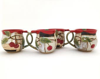 Mug Handmade Ceramic: Cherry, Made to order