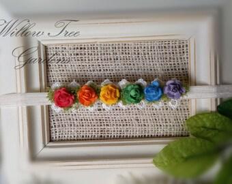 Rainbow Tieback, Rainbow Headband, Rainbow Baby Headband, Baby Headband, Newborn Tieback, Rainbow Flower Headband, Rainbow Halo