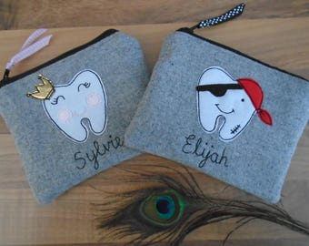 Handmade Personalised Tooth Fairy Purse Pouch Wallet , Boys/Pirate or Girls/Princess, Choice of name, Lining to co-ordinate Grey wool fabric