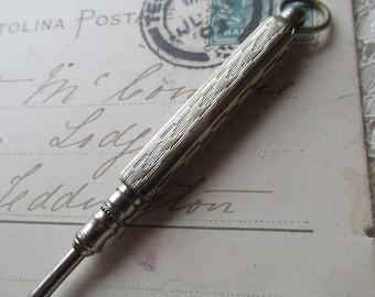 ART DECO Propelling Pencil Fob. 1930 s Nickel Silver Propelling Pencil Fob Engine Turned Propelling Pencil