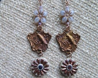 romantic songbird earrings, bird earrings, shabby chic earrings, raku earrings, flower earrings, bird jewelry, lightweight earrings, gift