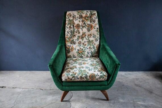 Mid Century Modern Green Velvet Floral Vintage Chair