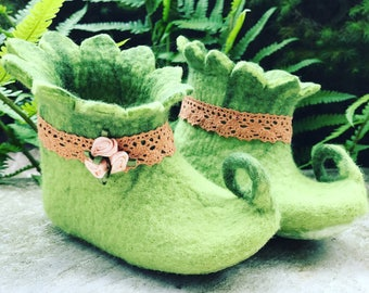 Fairy gnome shoes baby shoes slippers kids home shoes, wool shoes