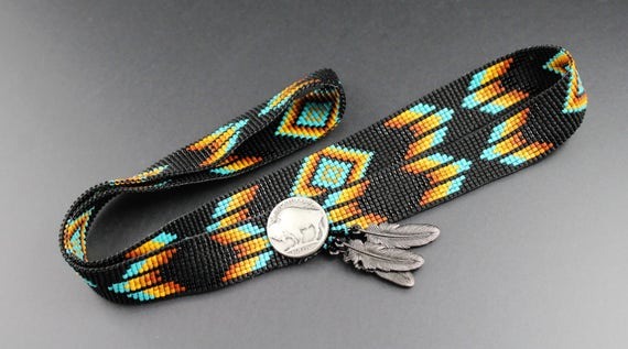 Made to Order.Custom Fit Cowboy Hatband...Native American Inspired.Black & Turquoise.Feathers and Diamonds.Pewter Button and Feather Charms.