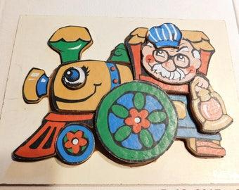 Vintage Rainbow Crafts Inc Train Puzzle