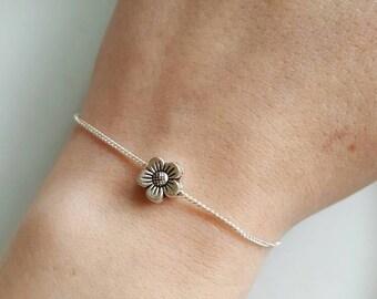 Cute Tiny Flower Charm Chain Silver Bracelet, Dainty, Pretty, Layer, Love, Simple, Minimalist, Summer, Flower Girl, Daisy