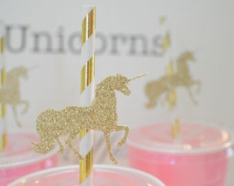 Unicorn straws, unicorn party decor, unicorn cake topper