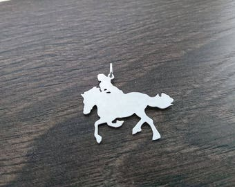 A girl and her horse Sterling silver pendant