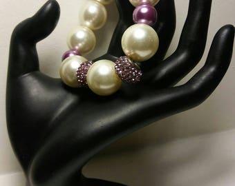 Chunky Beads,Off White Beads,Purple Rhinestones Crystal Pave Beads, On Sale,