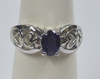 Natural Iolite Solitaire Ring 925 Sterling Silver