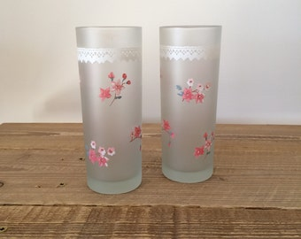 Pair of Vintage Darlington Designs Pink Floral Frosted Glass Tumblers