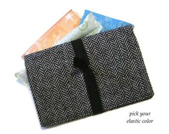 Tweed Feminine Product Case, Tampon & Pad Holder, Women's Gift, Feminine Product Bag, Black Cosmetic Case in 3 Sizes, Best Selling Item