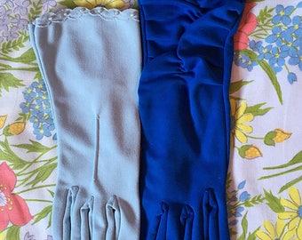 1950s blue gloves - set of 2 - size small / medium