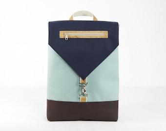 Blue backpack purse, vegan backpack, waterproof backpack, cork backpack, handmade backpack, designer backpack