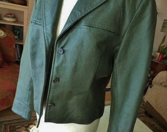 Women's Leather Coat Ladie's Green Leather Jacket Cropped Jacket
